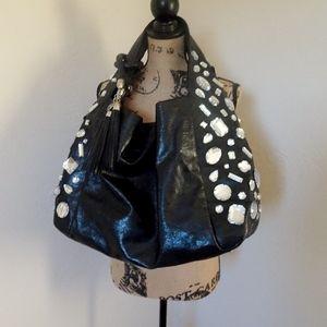 Joan Boyce Black Purse w/ Clear Gems & Tassel